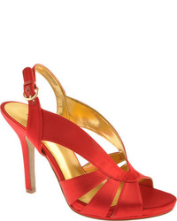 Red Satin Heeled Sandals