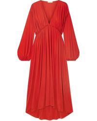 The Row Sasha Gathered Satin Jersey Midi Dress