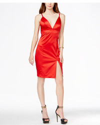 GUESS Plunging Front Slit Satin Dress