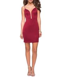 La Femme Py Back Satin Party Dress