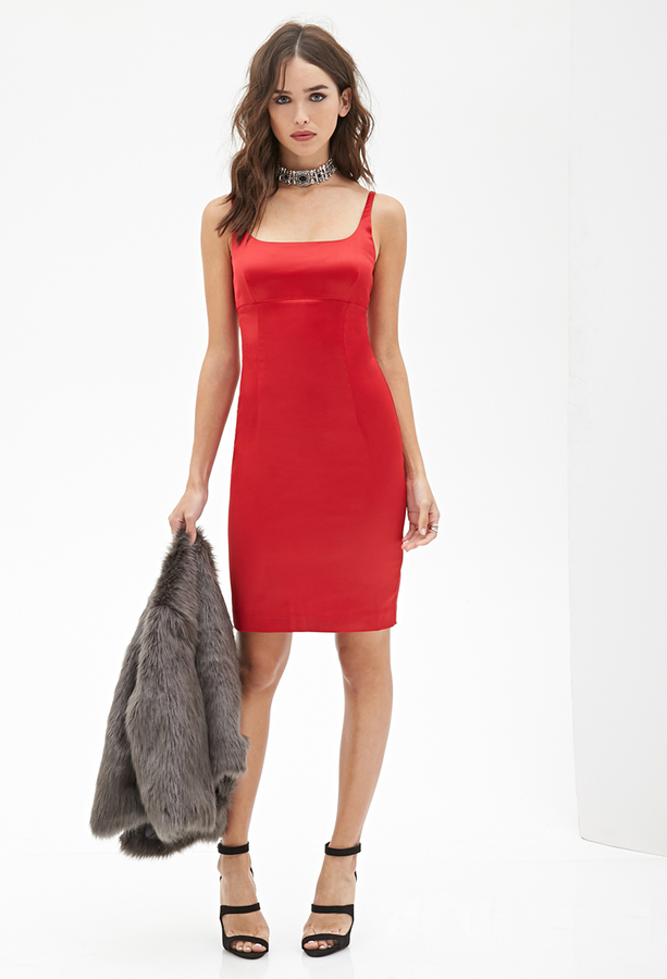b0c5a5d575 Forever 21 Sateen Cami Bodycon Dress