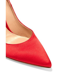 Gianvito Rossi 105 Satin Pumps Red