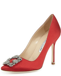 Manolo Blahnik Hangisi Crystal Buckle Satin 105mm Pump Red