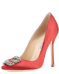 Manolo Blahnik Hangisi Crystal Buckle Satin 115mm Pump Crimson