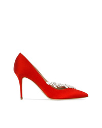 Manolo Blahnik Red Nadira Crystal 95 Satin Pumps