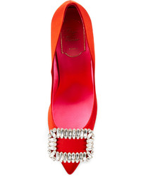 Roger Vivier Sexy Choc Crystal Buckle Pump Red