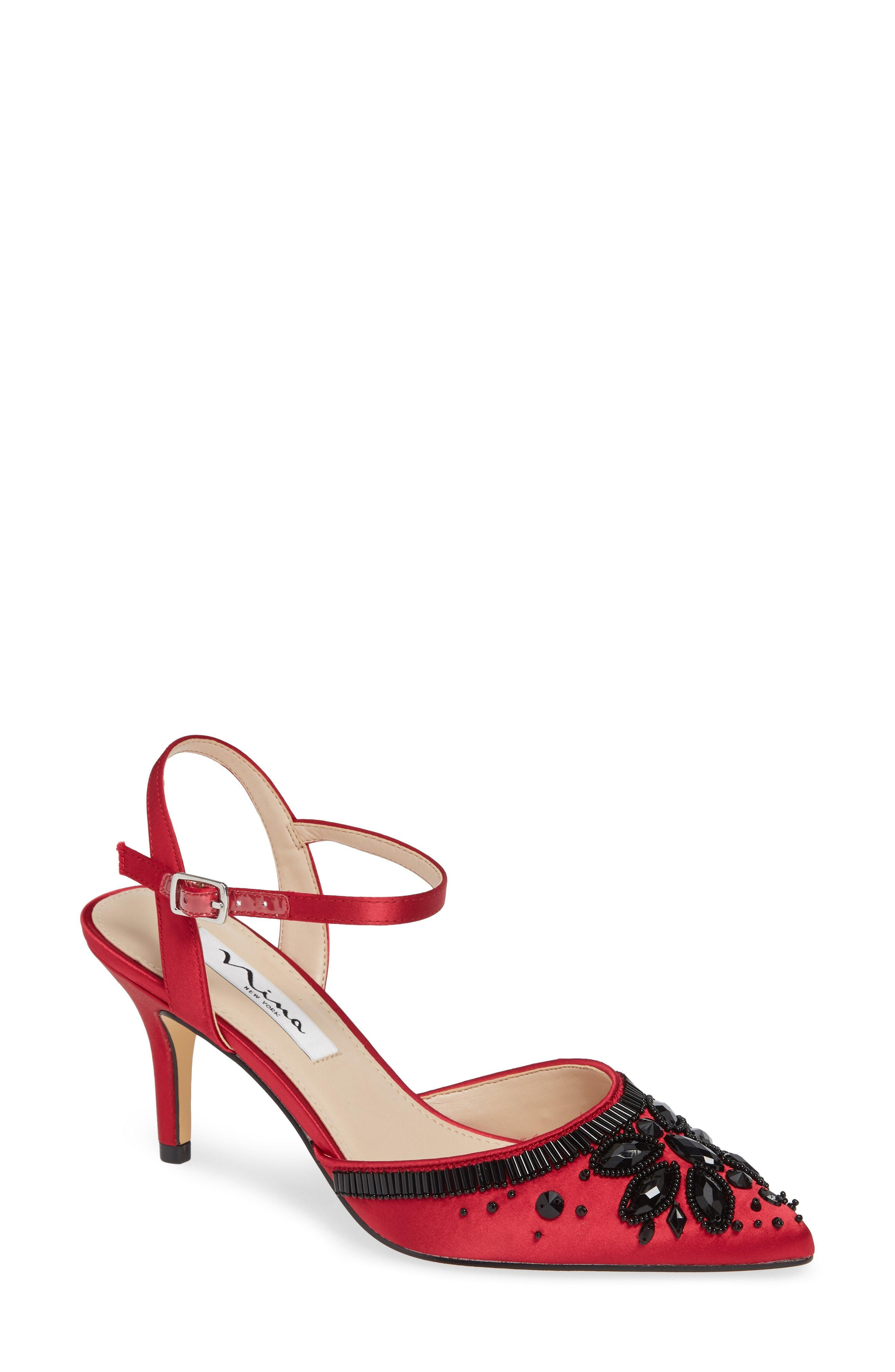 Nina Thora Beaded Pointy Toe Pump