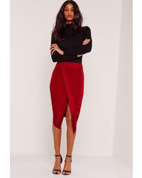Missguided Asymmetric Satin Panel Skirt Red
