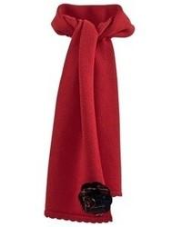 Dolce & Gabbana Red Scarf With Tartan Corsage