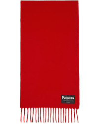Alexander McQueen Red Wool Label Scarf