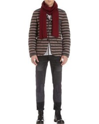 Barneys New York Ribbed Knit Solid Scarf