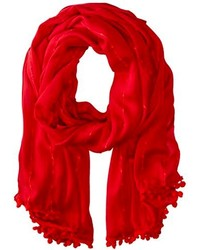 Sperry Top Sider Open Weave Pareo Scarf With Pom Pom Tassels