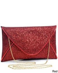 Dasein Glamorous Metallic Sparkle Envelope Clutch Purse