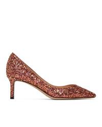 Jimmy Choo Pink Blast Coarse Glitter Romy 60 Heels