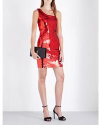 Saint Laurent One Shoulder Fitted Sequin Dress