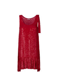 Red Sequin Shift Dress