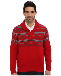 Nautica 7gg Fairisle Shawl Jersey Sweater