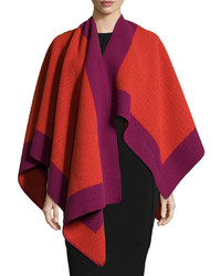 Burberry Color Border Woolcashmere Cape Coralred