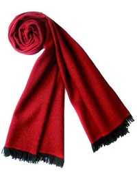Plush Cashmere Black And Red Twill Weave Cashmere Stole