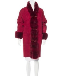 Fox trimmed shearling coat medium 5369276