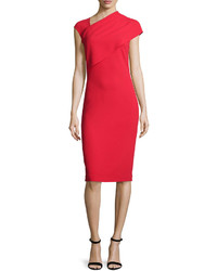 Ralph Lauren Collection Sonya Cap Sleeve Sheath Dress Bright Red