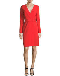 Diane von Furstenberg Long Sleeve V Neck Crepe Sheath Dress