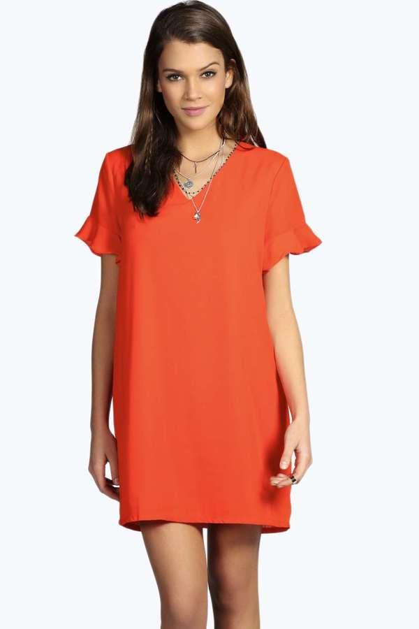 f7fc90a90f60 Boohoo Jade Woven V Neck Frill Sleeve Shift Dress, $26 | BooHoo ...