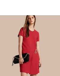 Burberry Buckle Detail Pleated Shift Dress