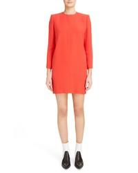Givenchy Exaggerated Shoulder Crepe Back Satin Shift Dress