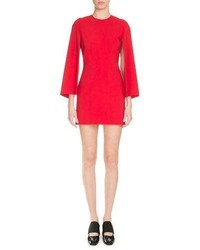 Givenchy Fitted Cape Sleeve Shift Dress Red