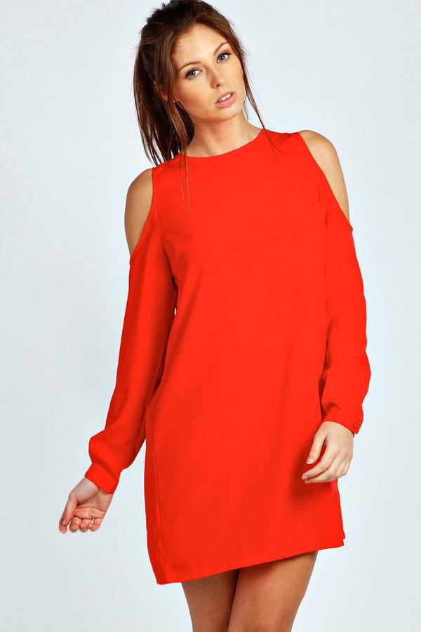 39c530a999a2 Boohoo Jen Solid Colour Open Shoulder Shift Dress, $20   BooHoo ...