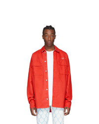Off-White Red Denim Arrows Over Shirt