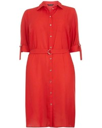 Dorothy Perkins Dp Curve Red D Ring Shirt Dress