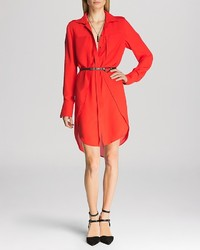Halston Heritage Shirt Dress Belted Overlay