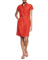 Loro Piana Maggie Belted Silk Shantung Shirtdress Rouille Red