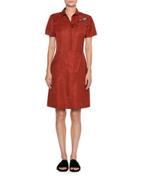 Tomas Maier Patch Toile Short Sleeve Shirtdress Dark Red
