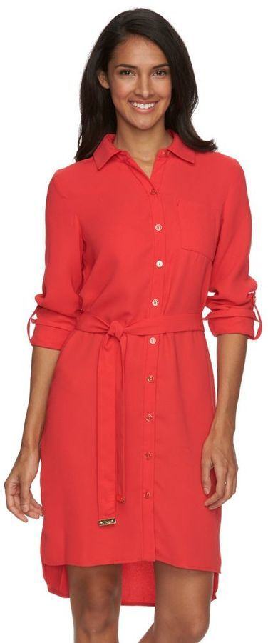 classic fit new photos buying now Sharagano Crepe Roll Tab Shirtdress, $100 | Kohl's | Lookastic.com