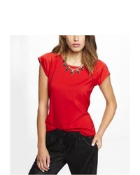 Express Short Raglan Sleeve Easy Top Red Small