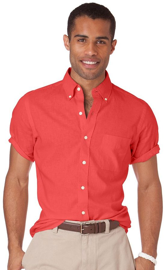 Red short sleeve shirt chaps classic fit solid linen for Chaps button down shirts