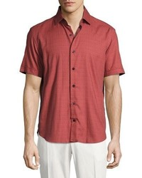 Culturata Medallion Print Short Sleeve Cotton Shirt