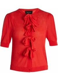 Simone Rocha Bow Embellished Short Sleeved Cardigan
