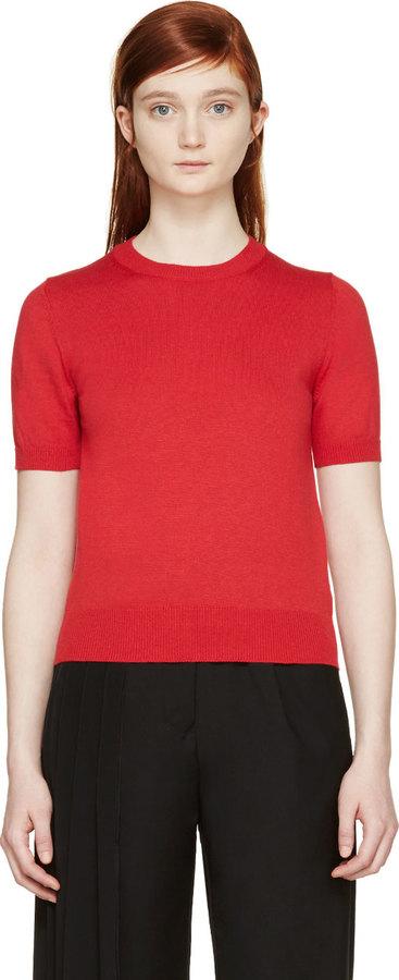 Comme des Garcons Comme Des Garons Red Ribbed Knit Short Sleeve ...