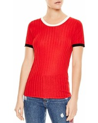 Sandro Nolene Contrast Color Short Sleeve Sweater