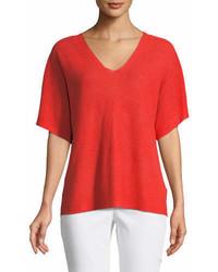 Eileen Fisher Short Sleeve V Neck Organic Linen Top