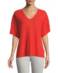 Short sleeve v neck organic linen top petite medium 7013418