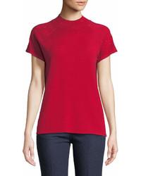 Neiman Marcus Short Sleeved Rhinestone Sweater