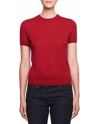 The Row Tati Crewneck Short Sleeve Cashmere Top