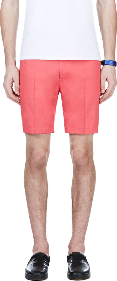 Calvin Klein Collection Coral Red Pleated Shorts   Where to buy ...