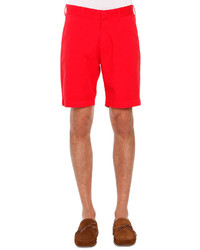 Tomas Maier Flat Front Twill Shorts Red