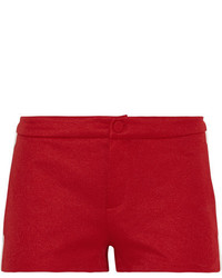 Ribbed knit trimmed tech jersey shorts red medium 5083399